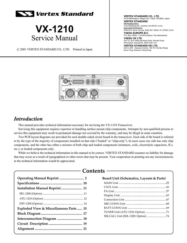 10 Wiring Diagram Yaesu Pa Schematic Diagrams Line Array Speaker Vx 1210 Manualzz Com