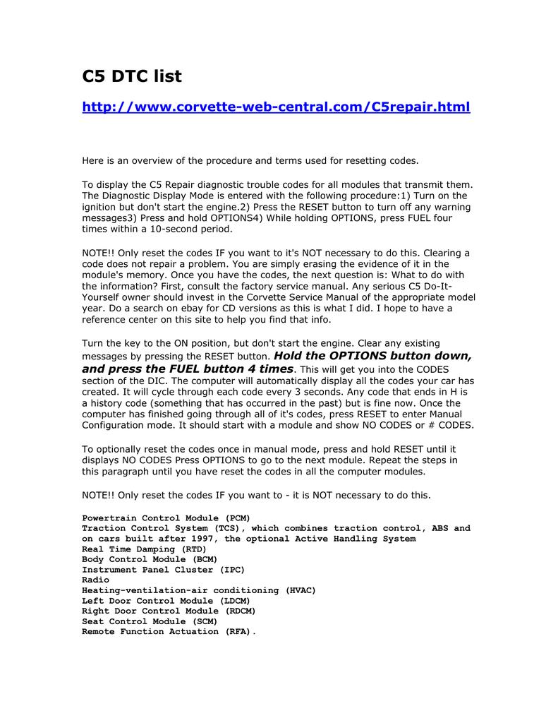 C5 Dtc List Of Codes County Corvette Association P0135 Ho2s Heater Performance Bank 1 Sensor