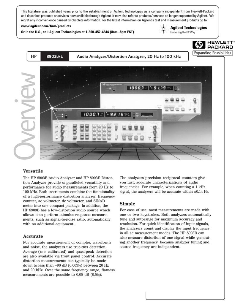 Hp 8903b E Audio Analyzer Distortion Analyzer 20 Hz To 100 Khz Manualzz
