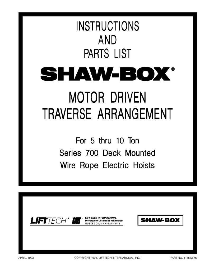 5 To 10 Ton Gaffey Overhead Cranes Shaw Box Hoist Wiring Diagram