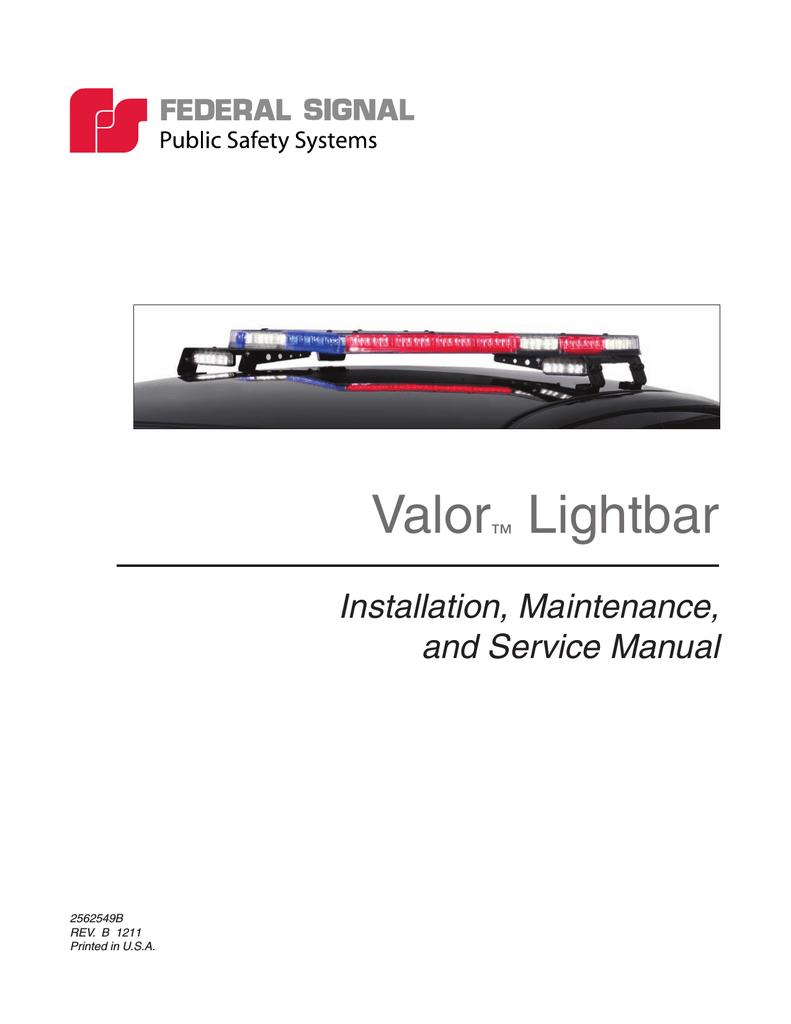 Valor™ Lightbar - Federal Signal | manualzz.com on