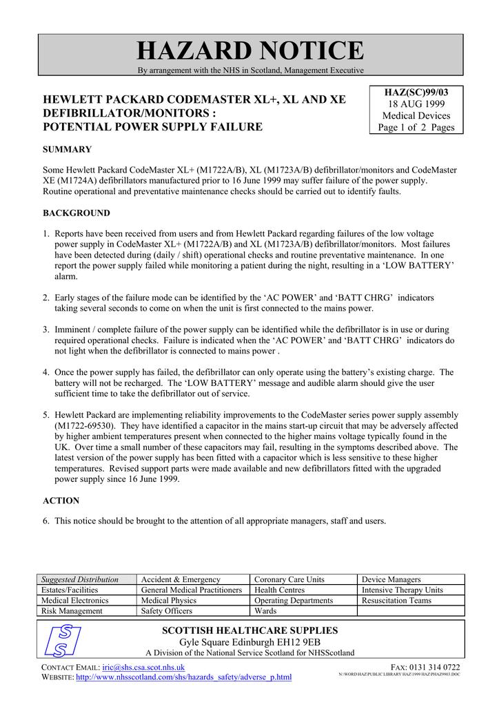 potential power supply failure [PDF 123KB] | manualzz com