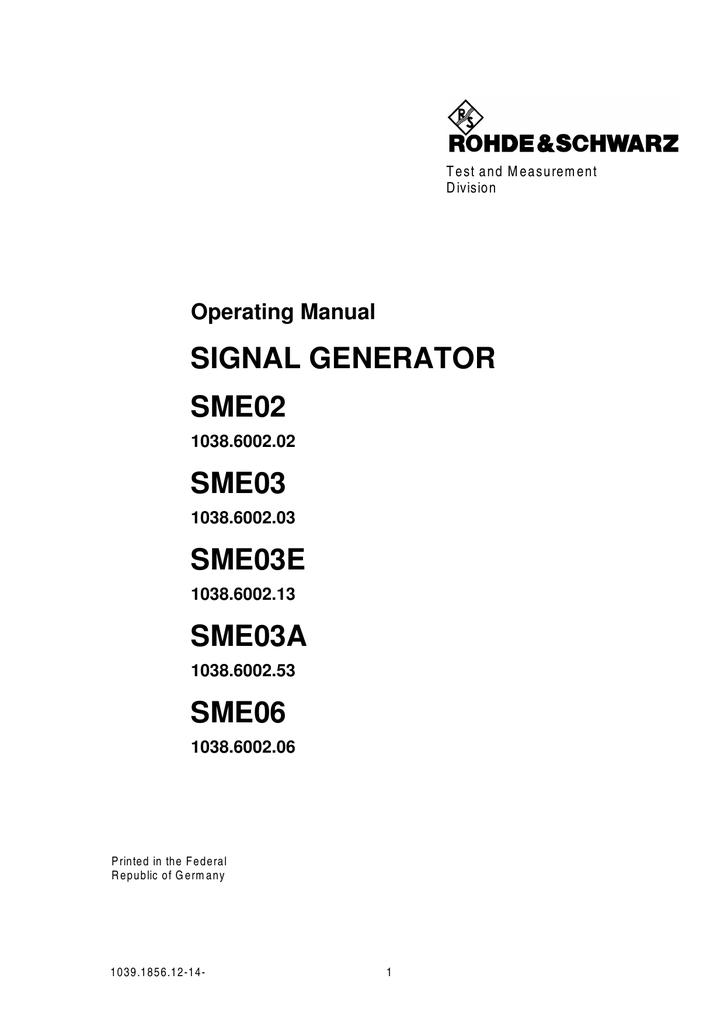 SIGNAL GENERATOR SME02 SME03 SME03E | manualzz.com
