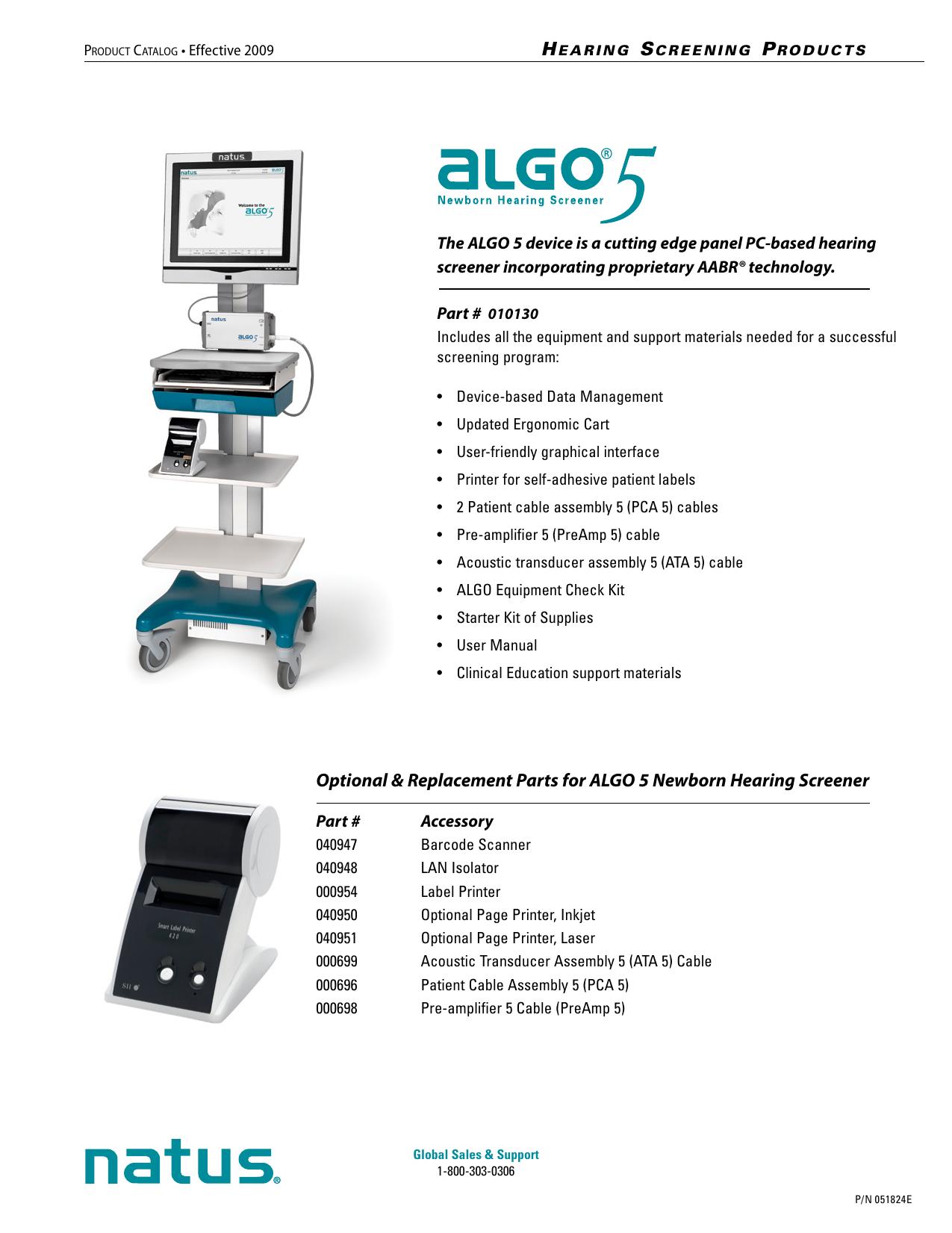Optional & Replacement Parts for ALGO 5 Newborn Hearing | manualzz com