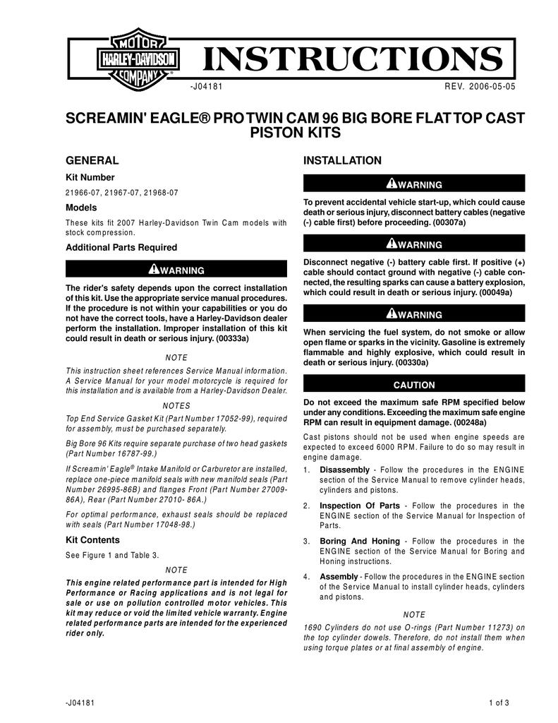 screamin` eagle® pro twin cam 96 big bore flat top cast piston kits