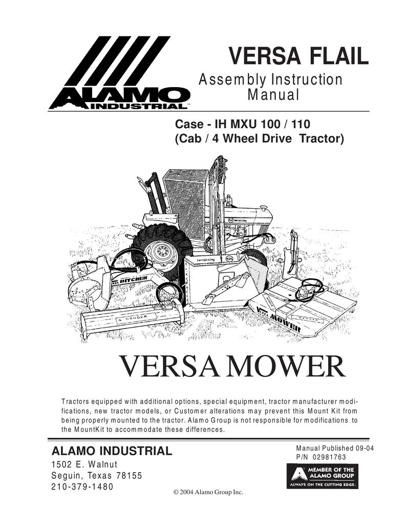 Versa Flail/Case-IH MXU 100-110 - Assembly Manual | manualzz com