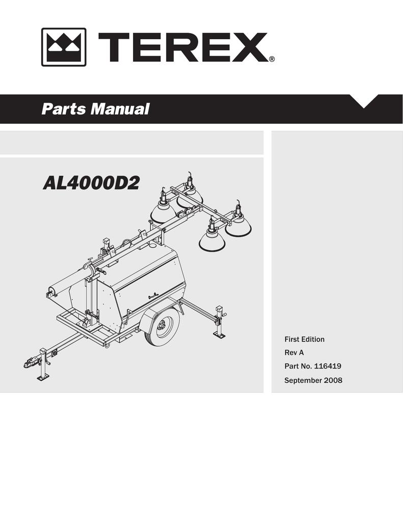 Al4000 Light Tower Parts Manual Al4000d2 Terex Wiring Diagrams