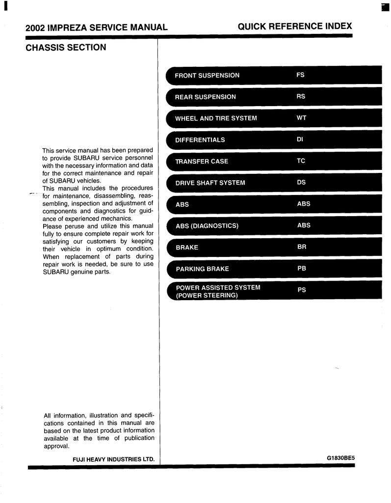 2002 IMPREZA SERVICE MANUAL QUICK | manualzz com