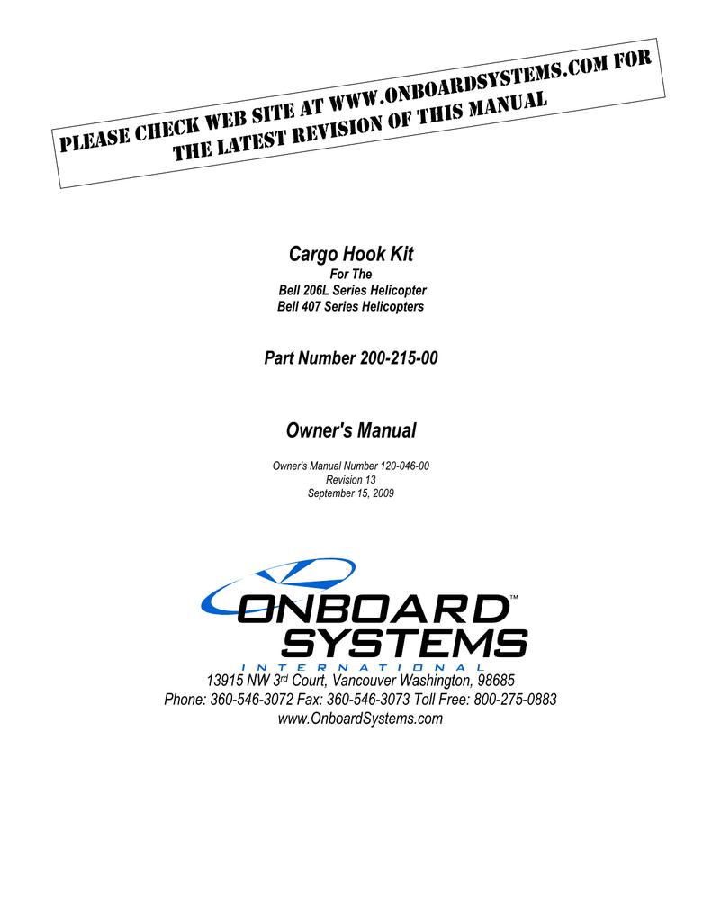 cargo hook kit owner s manual onboard systems international rh manualzz com