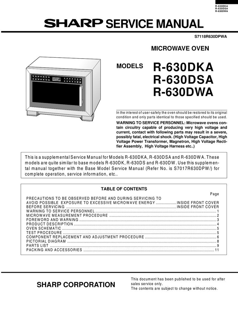 R 630dka 630dsa 630dwa Service Manual Parts Miscellaneous Diagram And List For Sharp Microwaveparts