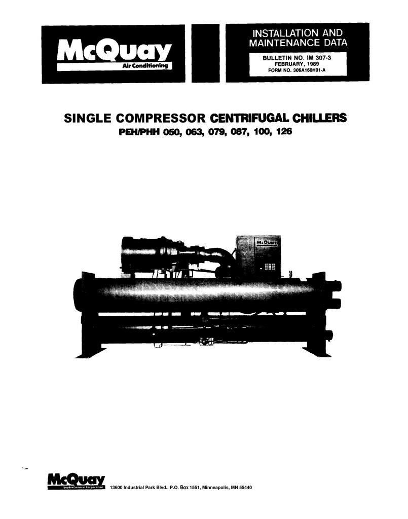 mcquay centrifugal chiller peh operation manuals