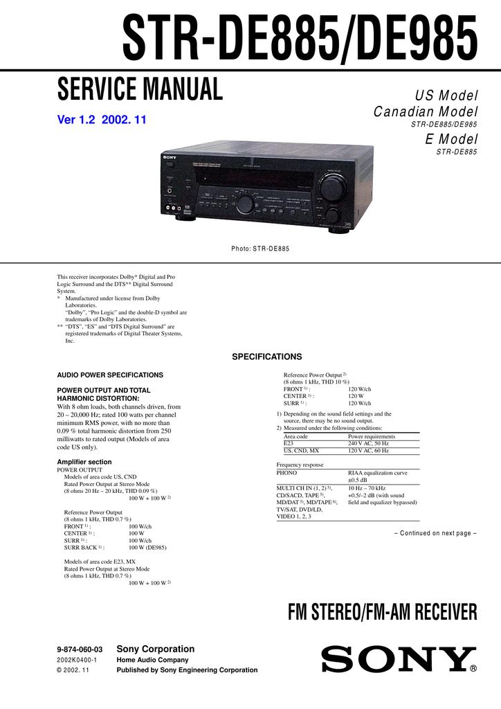 STR-DE885/DE985 | manualzz com