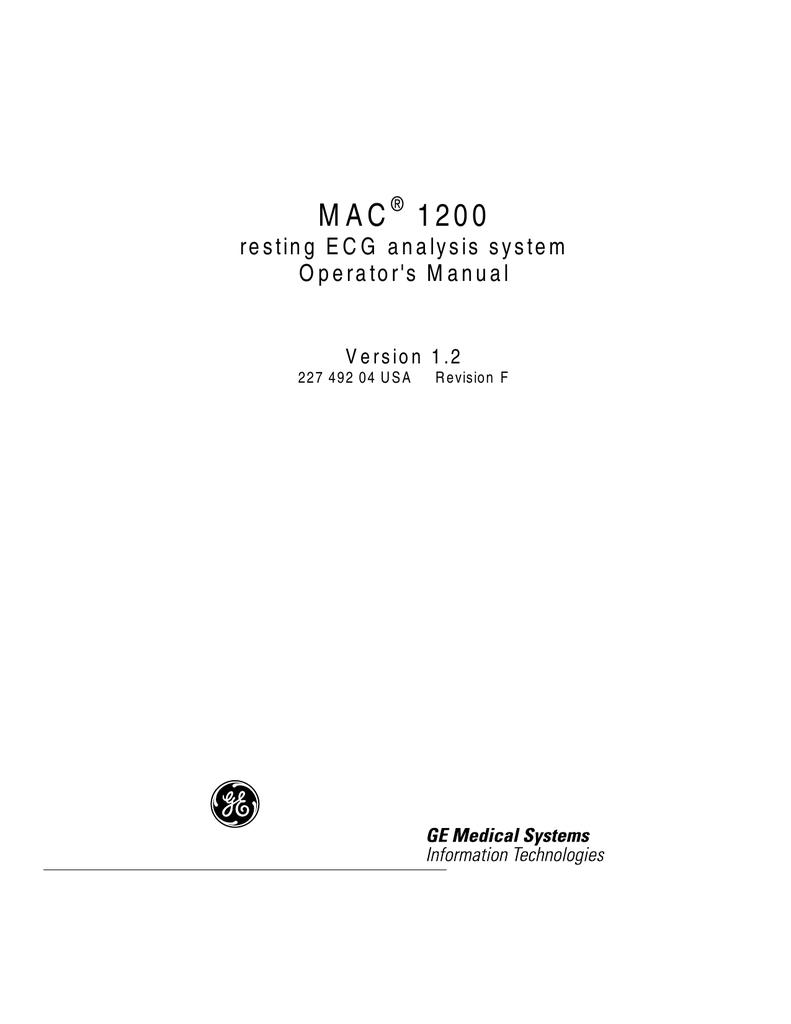 Ge Mac 5000 Ecg Resting Ayalysis Machine Manual