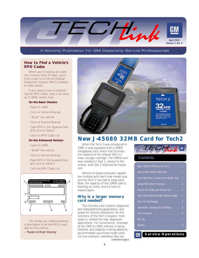 New J-45080 32MB Card for Tech 2 | manualzz com