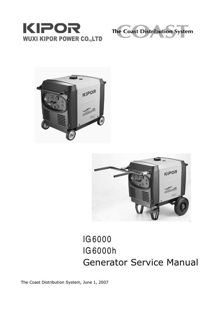 IG6000 / IG6000H - Kipor Generators, Reliance Controls