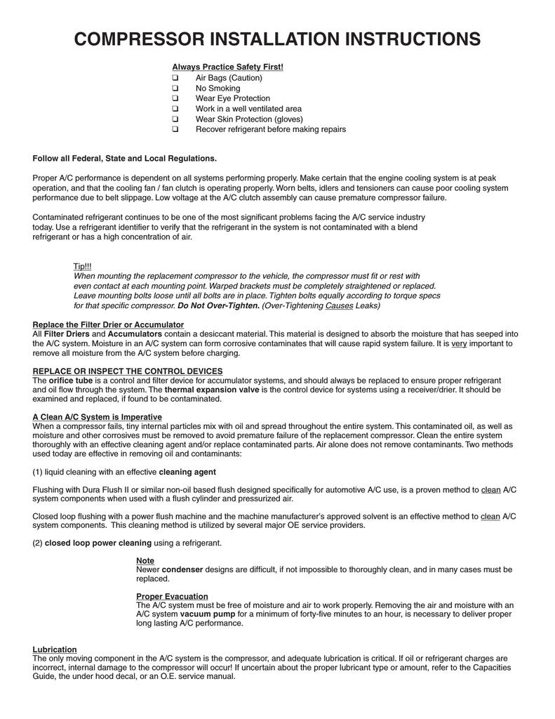 Ac Compressor Installation Instructions Manualzz