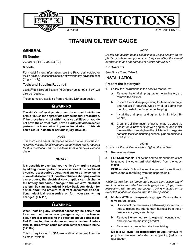 TITANIUM OIL TEMP GAUGE - Harley | manualzz com