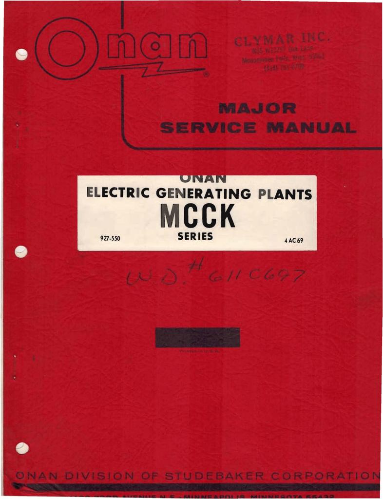 927-0550 Onan MCCK Marine Genset Major Service manual (04 ... on