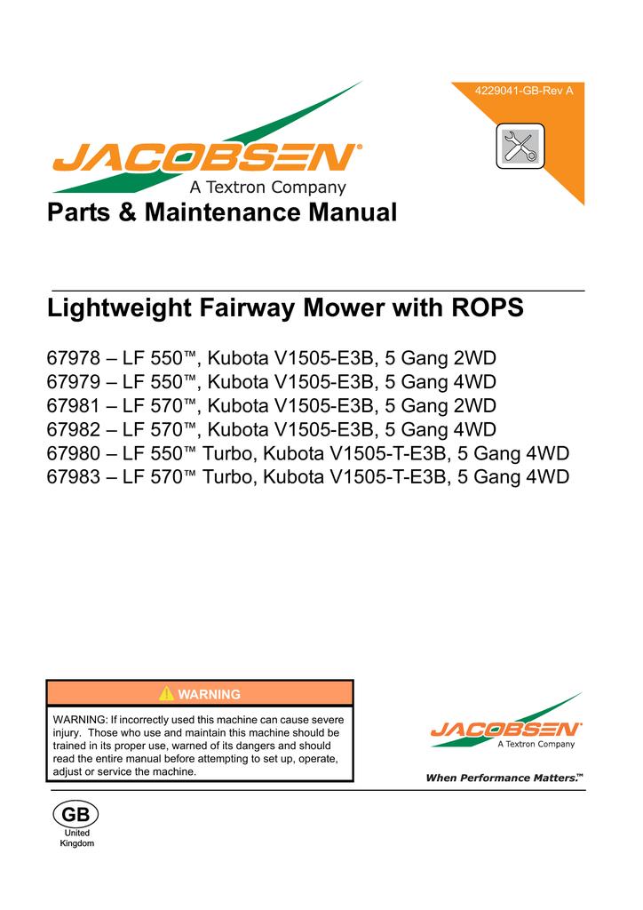 LF 550 - Jacobsen | manualzz.com Jacobsen Lf Wiring Diagram on