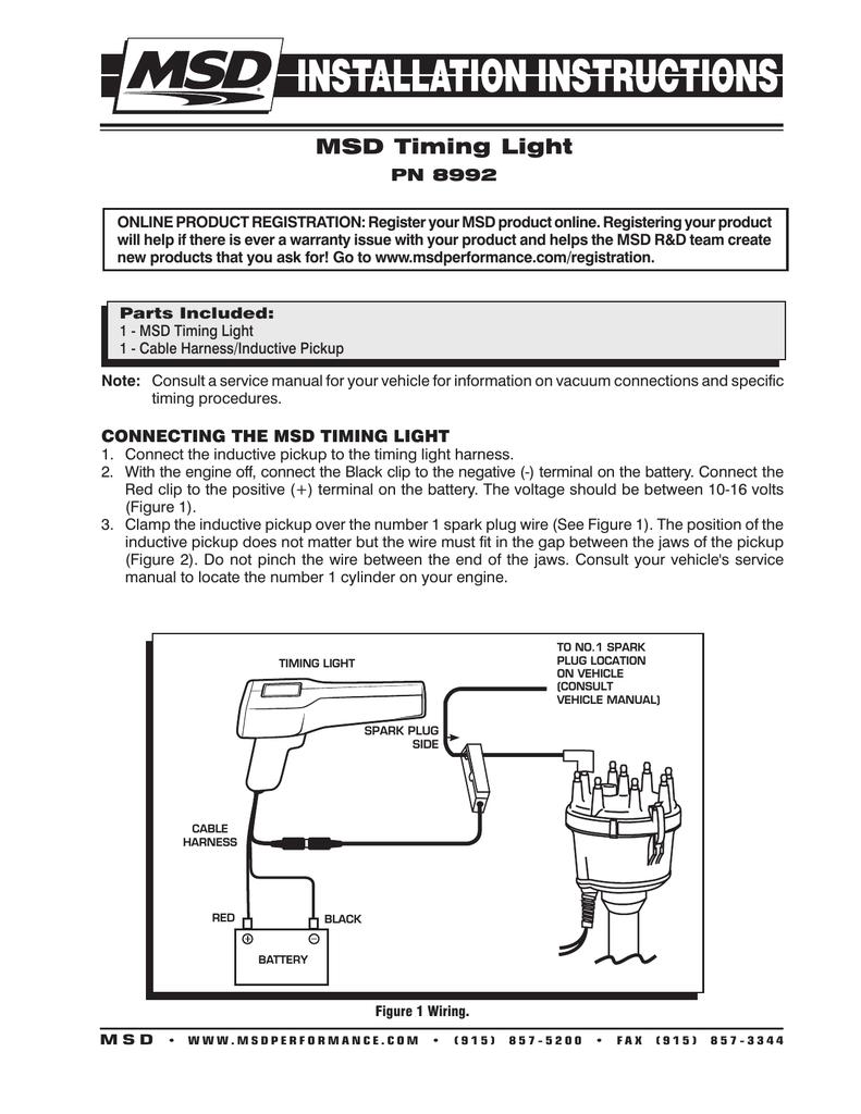 timing light wiring diagram msd timing light manualzz  msd timing light manualzz