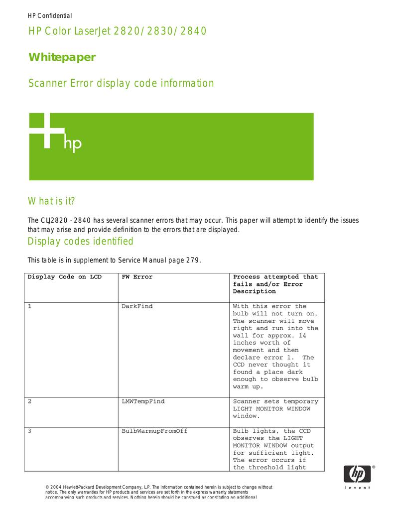 Scanner Error display code information | manualzz com