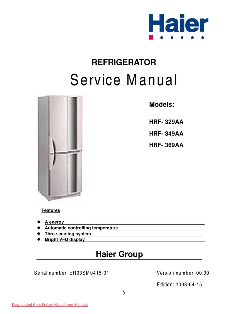 Haier HRF-369AA User Guide Manual PDF | manualzz.com on