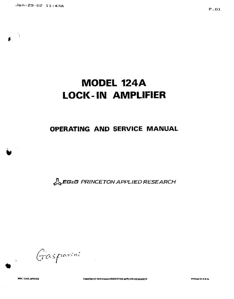 Princeton Applied Research Egg Model 124a Lock Lockin Amplifierj