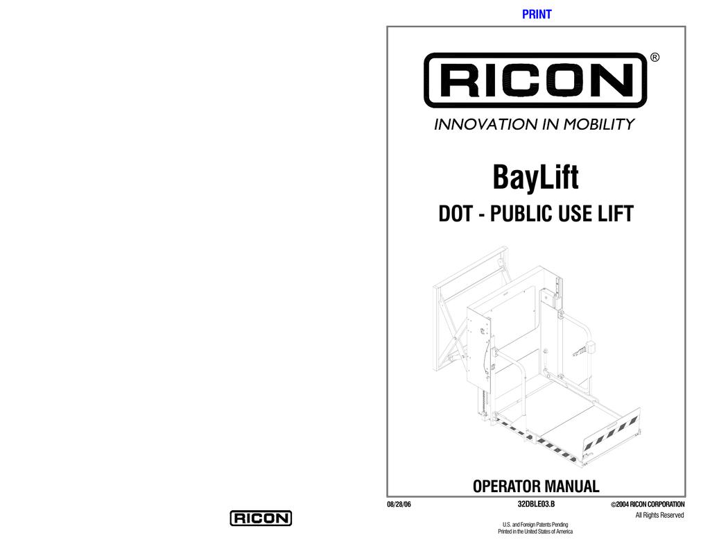 DOT – Public Use Lift   manualzz.com Handrail Ricon Wheelchair Lift Wiring Diagram on