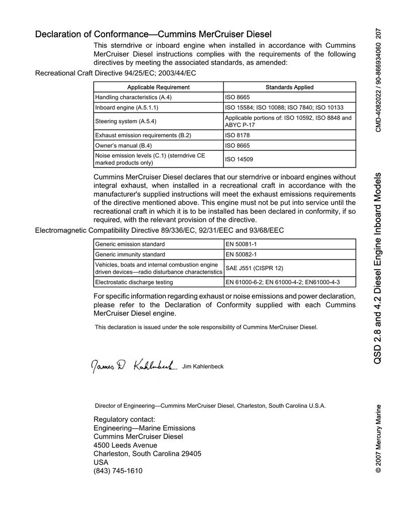 Declaration of Conformance—Cummins MerCruiser Diesel | manualzz com