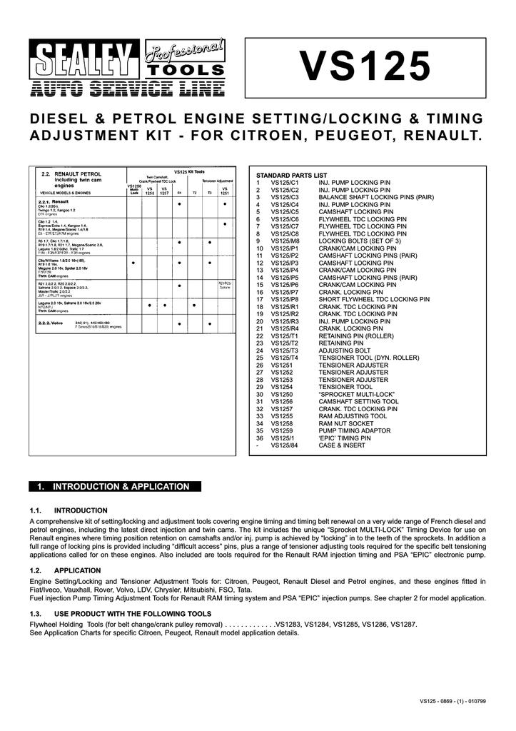 diesel & petrol engine setting/locking & timing adjustment