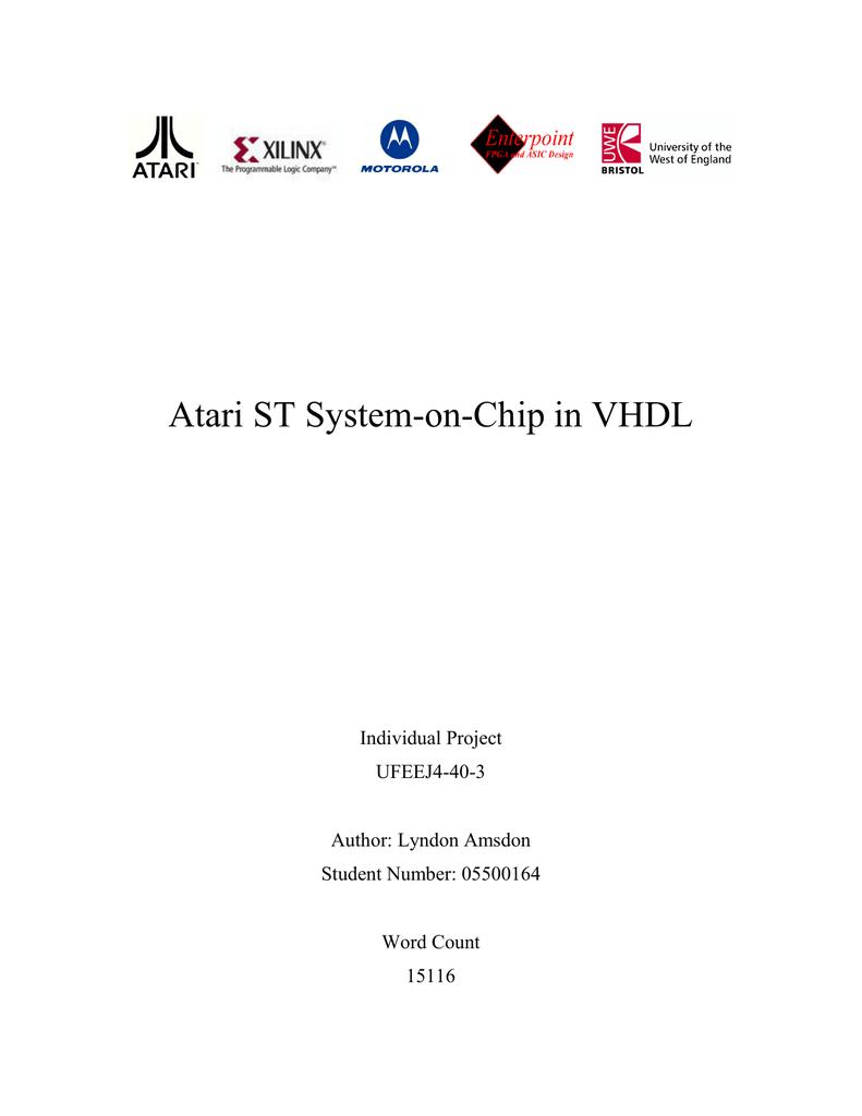 Atari St System On Chip In Vhdl Author Lyndon Amsdon Undated Ne555 Datasheet Pdf Stmicroelectronics