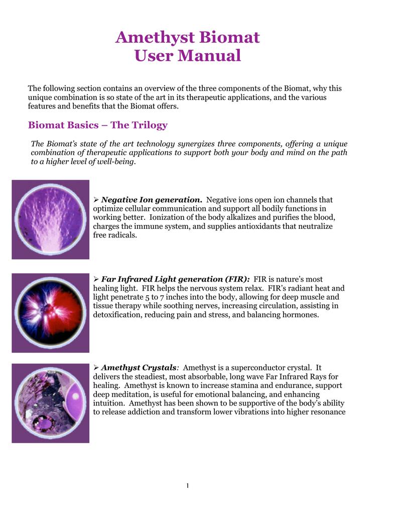 Amethyst Biomat User Manual | manualzz com