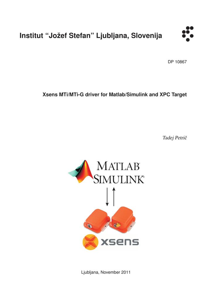 Xsens Matlab/Simulink driver | manualzz com