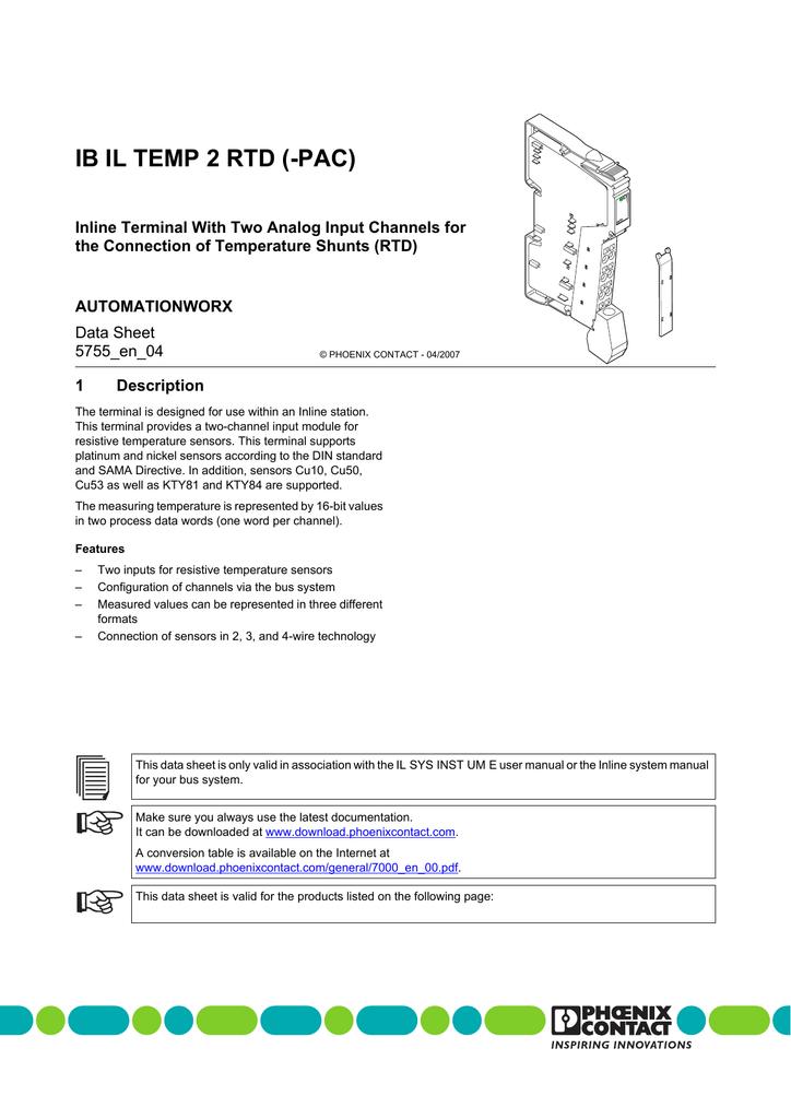 Data Sheet DB EN IB IL TEMP 2 RTD (-PAC) | manualzz com
