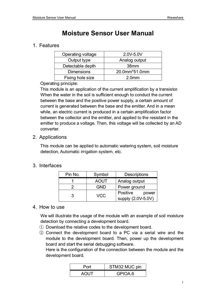 Moisture Sensor User Manual Manualzz