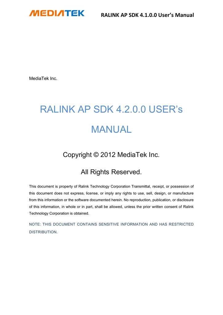 RALINK AP SDK 4 2 0 0 User`s Manual | manualzz com