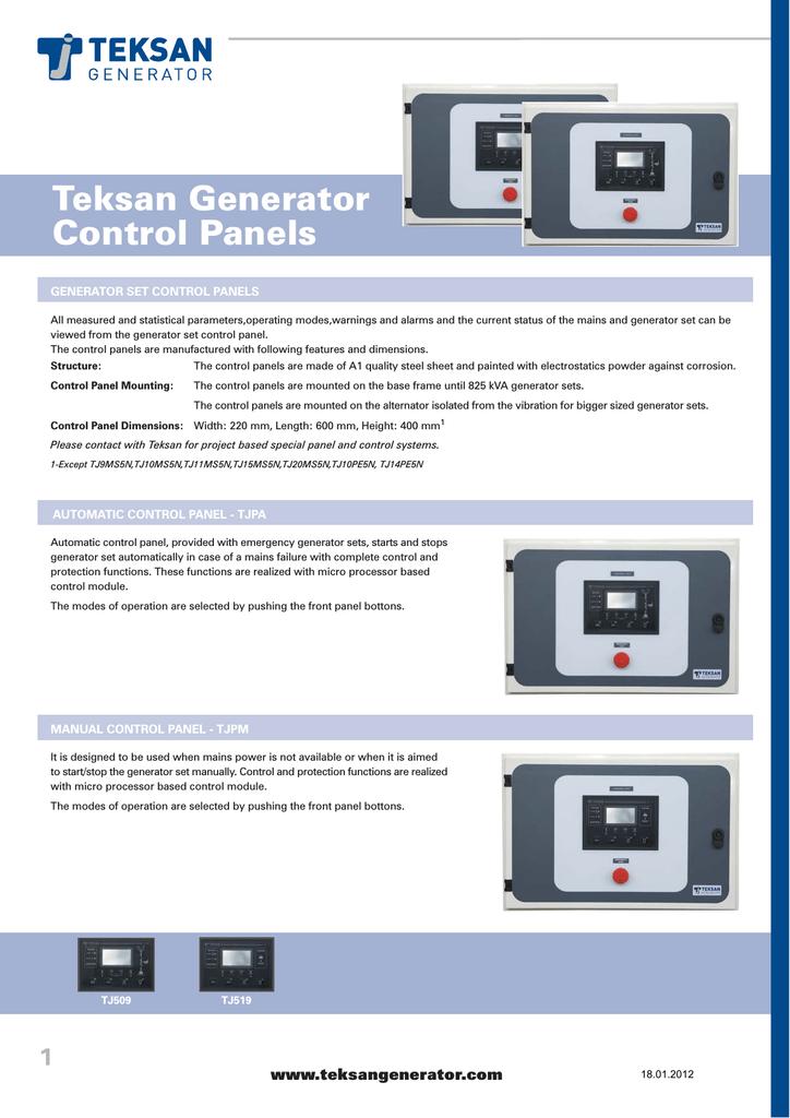 Teksan Generator Control Panels | manualzz.com