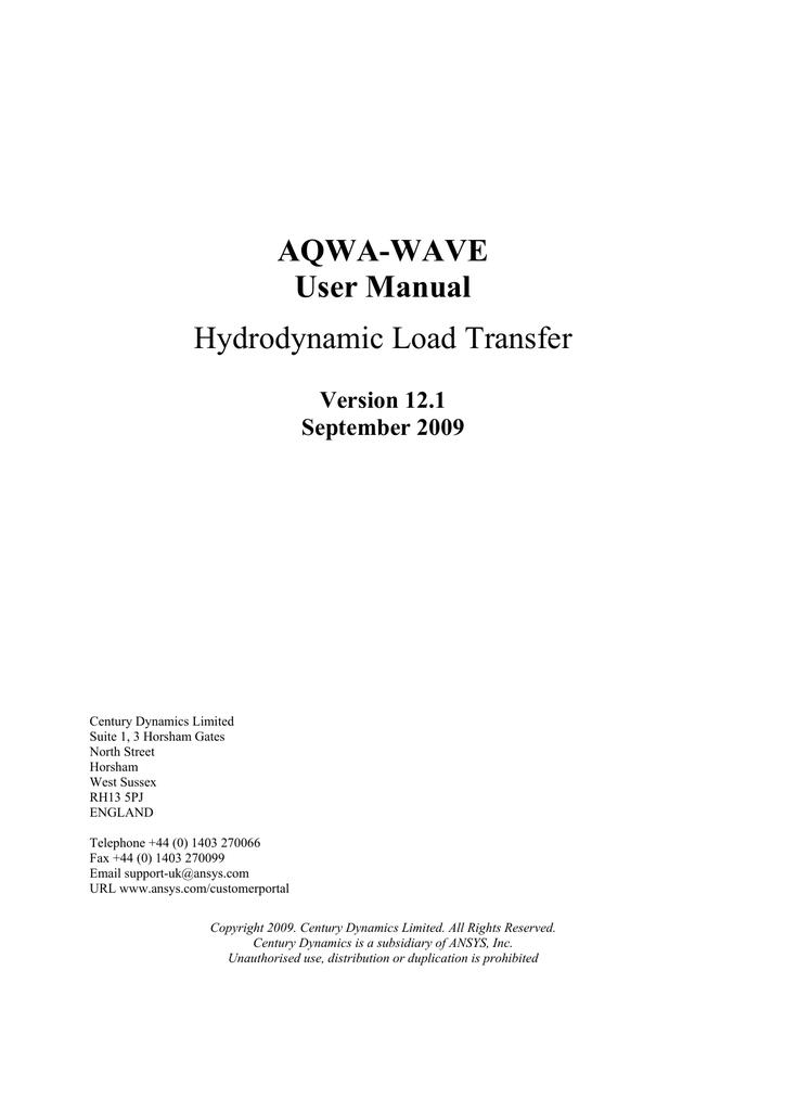 aqwa wave user manual hydrodynamic load transfer