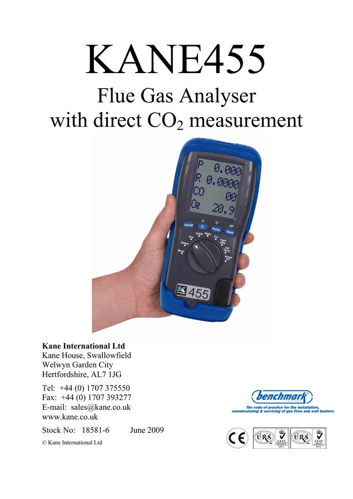 Kane 900 plus combustion flue gas analyser user manual.