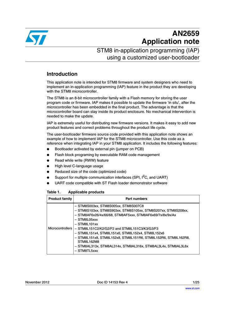 STM8 in-application programming (IAP) | manualzz com