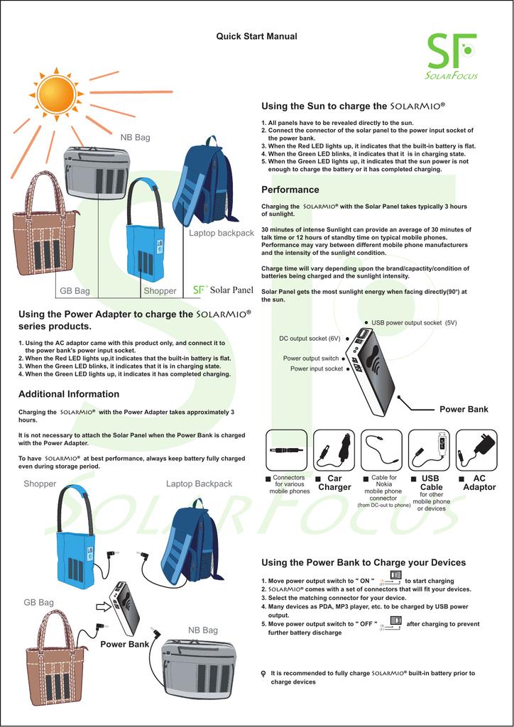 SolarMio bag series User Manual | manualzz com