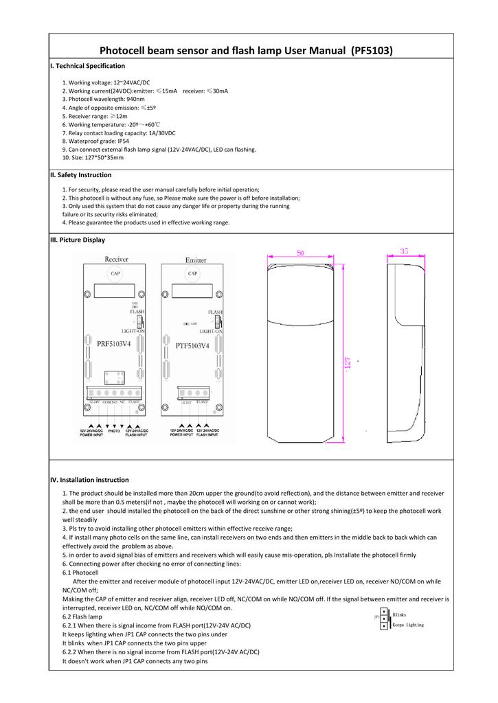 Photocell beam sensor and flash lamp user manual pf5103 manualzz ccuart Images