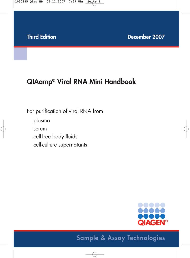 Qiaamp Viral Rna Mini Handbook Manualzz