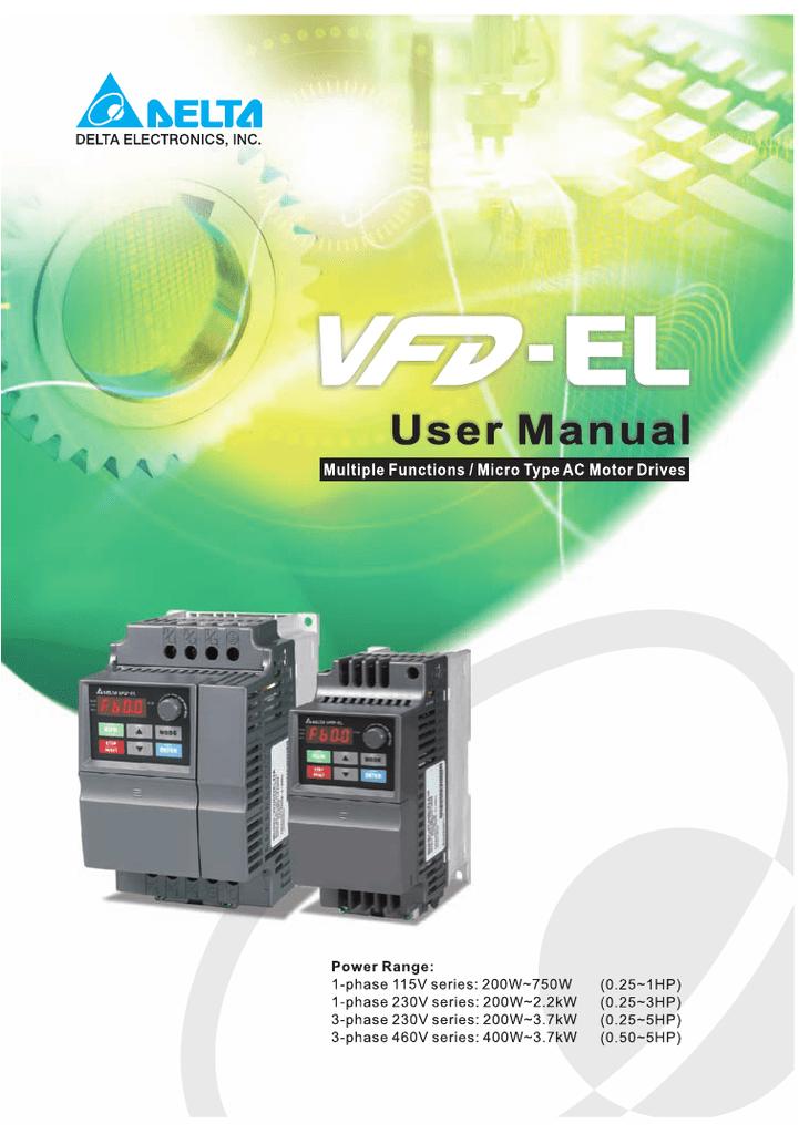 Delta Vfd El User Manual Manualzz Com