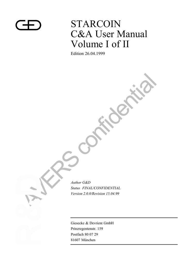 STARCOIN C&A User Manual Volume I of II | manualzz com