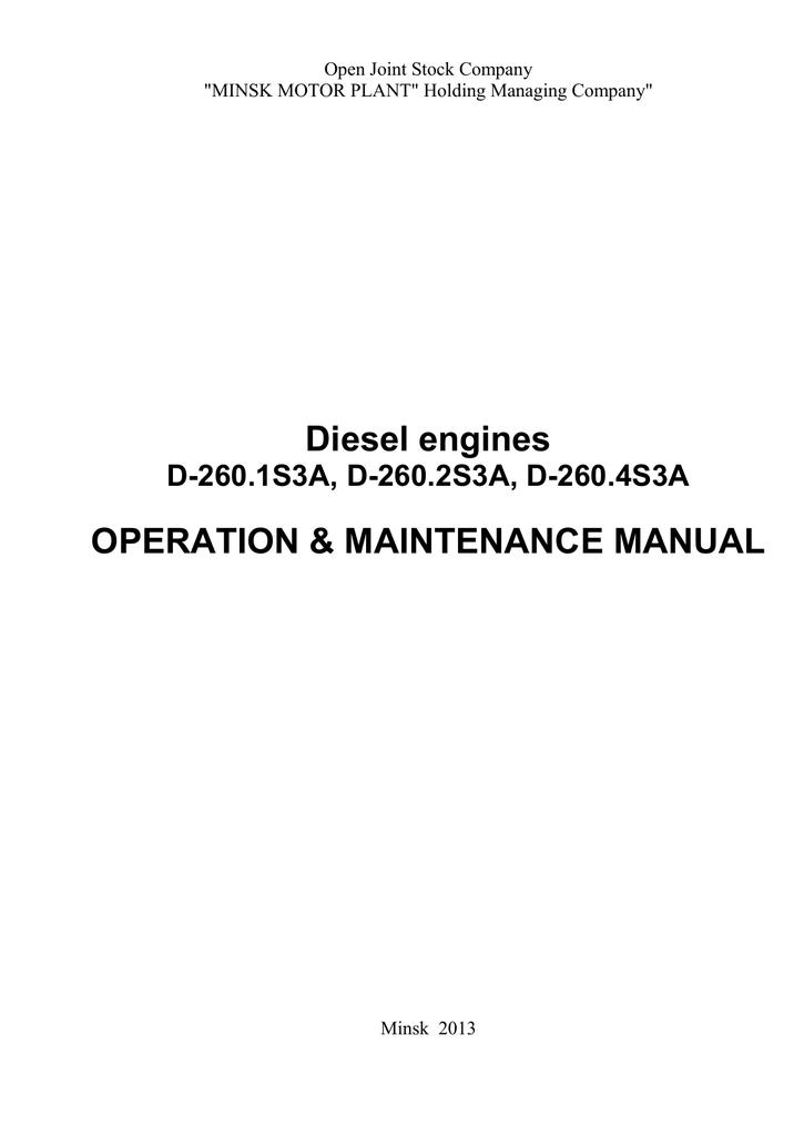 Diesel engines OPERATION & MAINTENANCE MANUAL | manualzz com