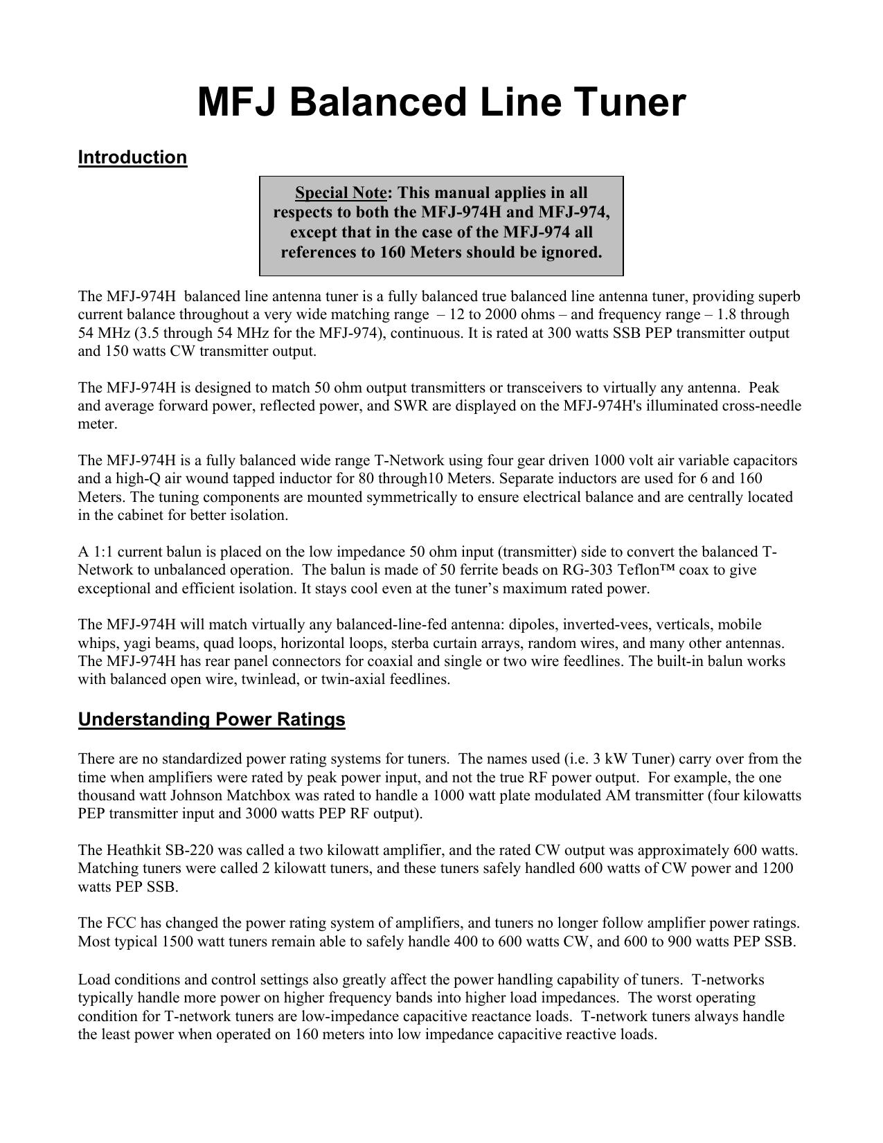 MFJ Balanced Line Tuner | manualzz com
