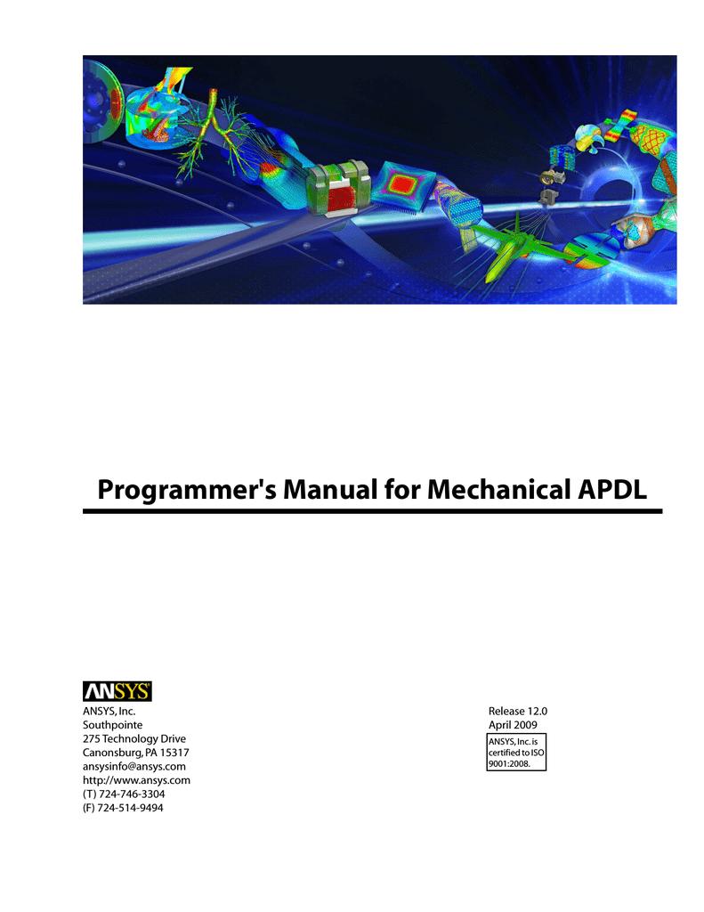 Programmer`s Manual for Mechanical APDL application