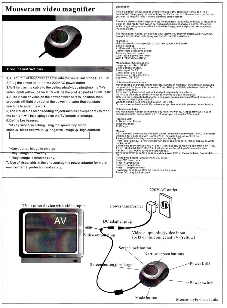 Mousecam video magnifier   manualzz com