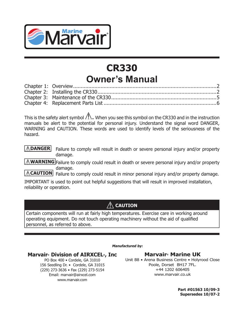 User manual CR330 - Dometic Marvair Marine Technical Manuals